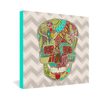 Sharon Turner Flower Skull Gallery Wrapped Canvas