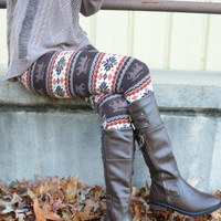 Frosted Brown Reindeer Fair Isle Leggings
