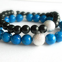 Natural Riverstone Stacking Bracelet in Blue and Silver