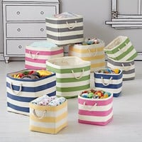 Stripes Around the Cube Bin (Green) in Bins & Baskets | The Land of Nod