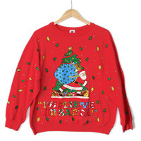 Santa's Big Sack Vintage 80s Tacky Ugly Christmas Sweatshirt