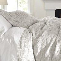 Ruched Voile Duvet, Full/Queen, Gray