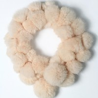 Faux Fur Bobble Scarf in Peach