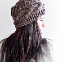 Free Shipping, Brown Knit Cable Hat Women Accessories