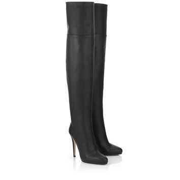 Black Grainy Calf Leather Boots | Over The Knee | Tamba | JIMMY CHOO Boots