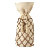 Beaded Jute Bottle Sack