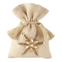 Small Burlap with Rhinestones Sack