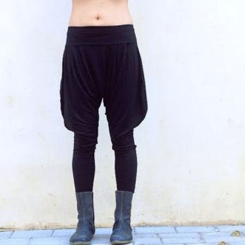 Black Women Harem Pants, Drop Crotch Yoga Pants