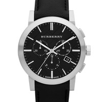 Jewelry & Accessories | Best Sellers | Men's Chronograph Watch with Black Leather Strap | Lord and Taylor