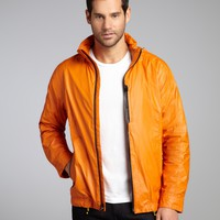 Orange Coated Poly Zip Front Hooded Windbreaker