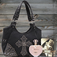 Studded Cross Handbag & Perfume Package