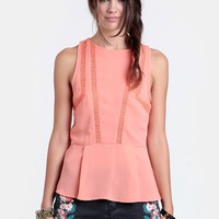 Setting Sun Back Slit Peplum Top