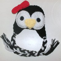 Crochet Penguin Earflap Beanie Hat Photo Prop by KiddieKapsbyDebra