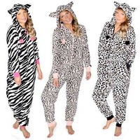 GIRLS SOFT FLEECY HOODED PYJAMAS LEOPARD OR ZEBRA AGE 7/8, 9/10,11/12,13 Onesuit