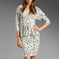 CATHERINE MALANDRINO White Woven Silk Peplum Dress In Snow Leopard,SZ 6,NEW,$340
