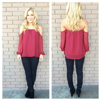 Burgundy Off Shoulder 3/4 Sleeve Blouse