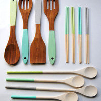 Housewarming Set - Dipped Chopsticks, Cooking Spoons, Bamboo Servers in Sea Urchin - Blue, Gray, Green, Mint