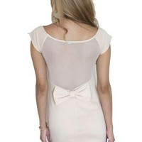 Beige Mesh & Bow Back Bodycon Dress