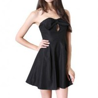 Black Bow Front Strapless Flare Dress with Keyhole Detail