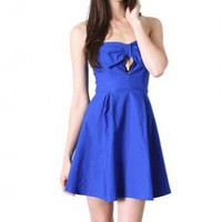 Blue Bow Front Strapless Flare Dress with Keyhole Detail