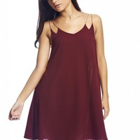Burgundy Chiffon Dress with Gold Chain Straps