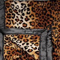 Rock Rebel Tan Leopard with Black Silk Trim Baby Blanket Kids Accessories at Broken Cherry