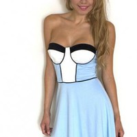 Blue, White & Black Contrast Strapless Flare Dress