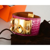 Hermès Fuschia Alligator Gold CDC Collier de Chien Bracelet - Rare