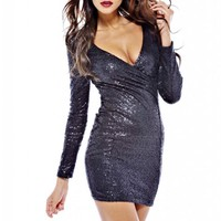 Black Sequin Long Sleeve Dress with V-Neck Front