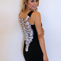 Black Skeleton Back Mini Dress