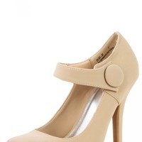 Bamboo Olisa-30 Nude Button Mary Jane Pumps | MakeMeChic.com
