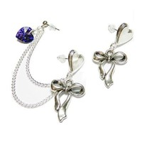 Swarovski Crystal Heart Key Double Piercing Handmade