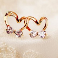 Golden Bowed Heart Rhinestone Fashion Earrings