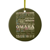 Attractions & Famous Places of Omaha, Nebaska. Ornament