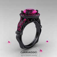 Caravaggio 14K Black Gold 3.0 Ct Pink Sapphire Engagement Ring, Wedding Ring R620-14KBGPS