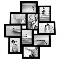10-Opening Black Wood Wall Hanging Collage Picture Photo Frame - Holds 3.5x5 Inches Photos