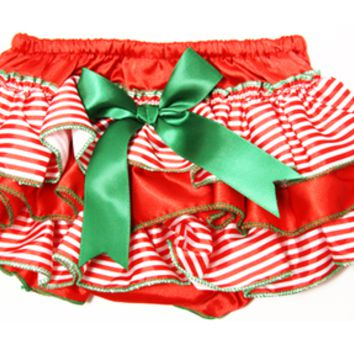 Kutsie Baby Red & Green Stripes Satin Bloomers