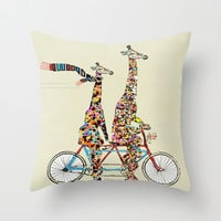 giraffe days lets tandem Throw Pillow by Bri.buckley