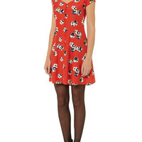 Pansy print button tea dress