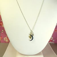Sterling Silver Crescent Moon Gold Star Swarovski Crystal necklace