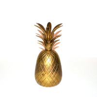 Vintage Brass Pineapple Box Hollywood Regency Brass Pineapple Candle Holder Mid Century Modern Barware