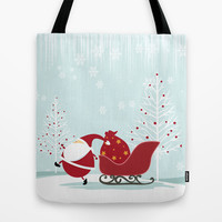 Happy Santa Tote Bag by MadTee