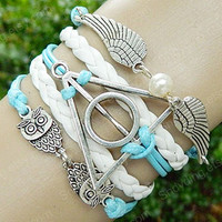Hipsters jewelry Harry potter Infinity angel wings bracelet,owls bracelet couple bracelets leather white lighting blue leather bracelet