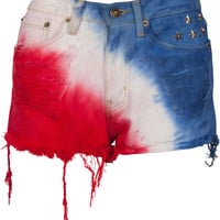 AMERICAN FLAG Stars & Stripes Studded Cut Off Shorts
