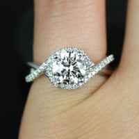 Maritza 14kt White Gold Round FB Moissanite Halo Twist Engagement Ring (Other Metals and Stone Options Available)