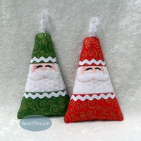 Santa Softie Ornament, Gift Card Money Holder in Green or Red w/Gold