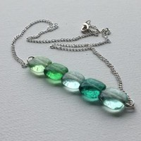Hannah: Blue Green Bar Necklace
