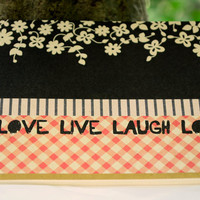 Handbound Mini Journal with Artist Paper, Bridesmaids Gifts, Live Laugh Love Notebook