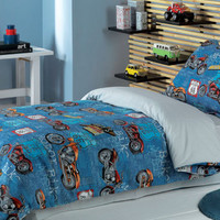 Custom Full or Queen Size Dark Blue, Red Motorcycle Printed Kid Bedding Set For Boys