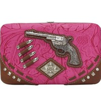 Western Cowgirl Embossed Pistol Flat Wallet Clutch Purse